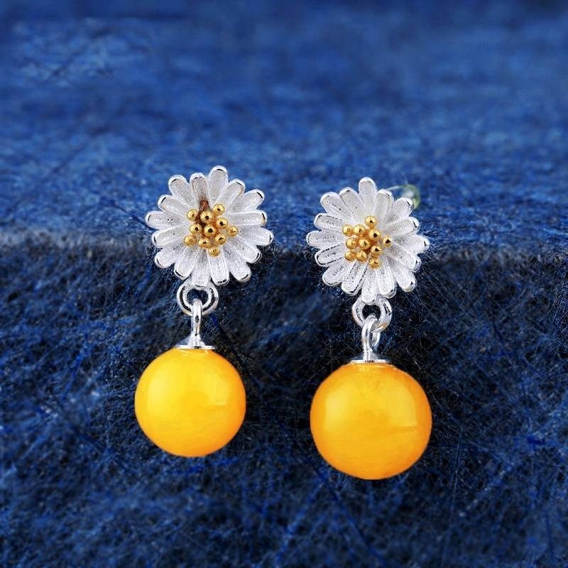 100% 925 Sterling Silver Small Daisy Stud Earrings Blank for Women Chrysanthemum 6-10mm Round Cabochon Earrings Settings