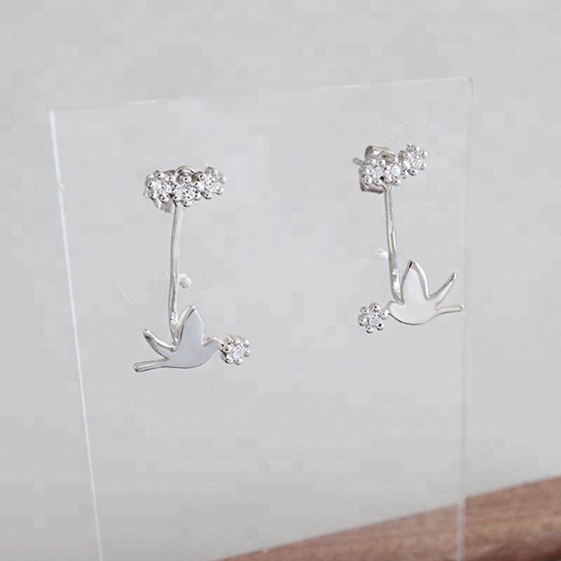 Delicate Pigeons Zircon Earrings for Women 925 Sterling Silver Cute Flying Bird Earrings Fine Jewelry Bijoux