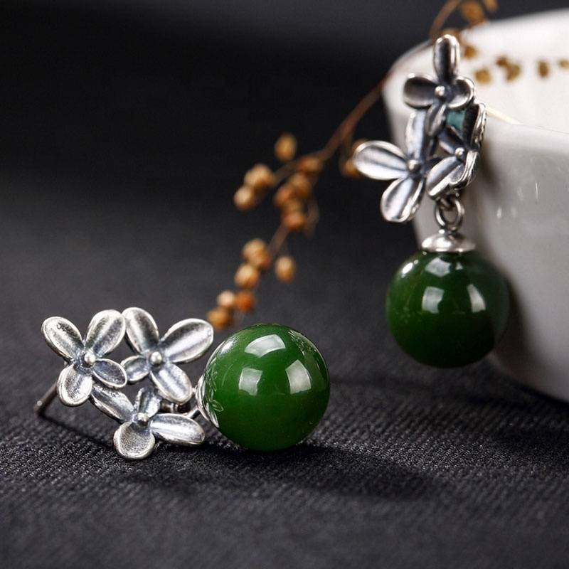 Real 925 Sterling Silver Flowers Earrings Drop Natural Hetian Green Jade Jasper Beads Vintage Earrings
