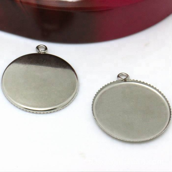 Stainless Steel Pendant Blank Jewelry with Round-shaped Teeth edge Tray Cameo Cabochons WHOLESALE