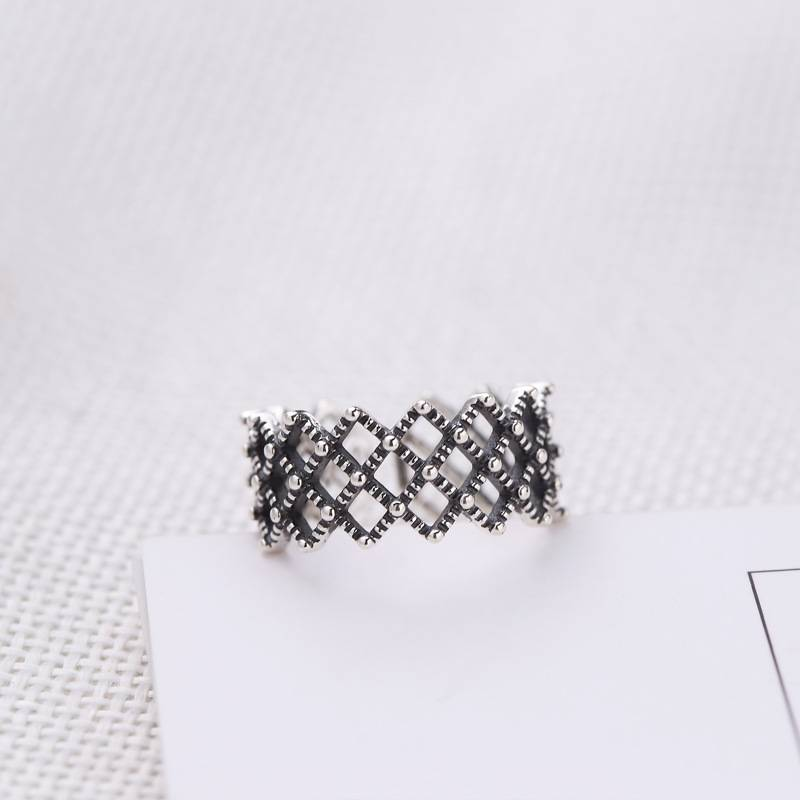 Korea Hot Style 925 Sterling Silver Simple Retro Vintage Black Big Mesh Open Ring Women Jewelry