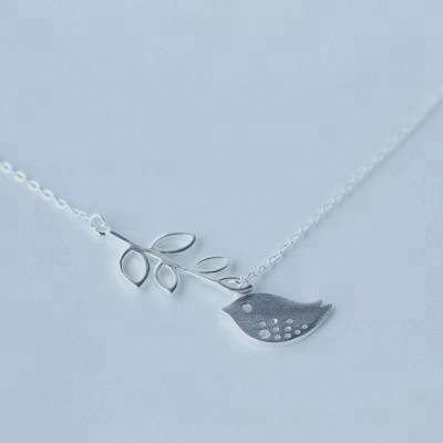 925 Sterling Silver Branch Leaves Bird Pendant Chain Statement Necklace friendship Collar Silver Jewelry For Women