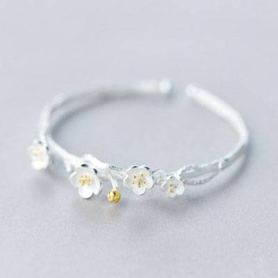 Creative Fashion 925 Sterling Silver Jewelry Exquisite Cherry Flowers Blossom Branches Anti-Allergy Opening Bracelet