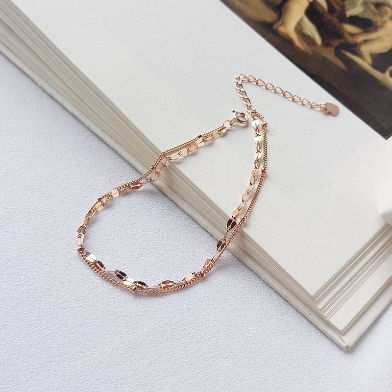 Delicate Wholesale Japan Korea Style 925 Sterling Silver Fashion Sweet Beautiful Rose Gold Bracelets Women Jewelry
