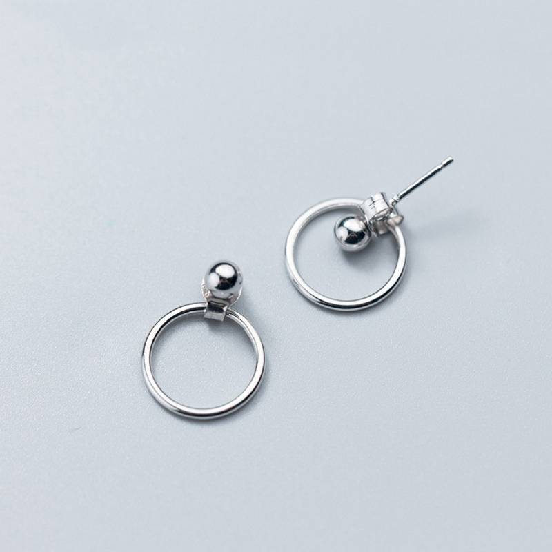 Factory Price 100% 925 Sterling Silver Fashion Minimalism Geometric Round Beads Stud Earring Fine Jewelry for Female