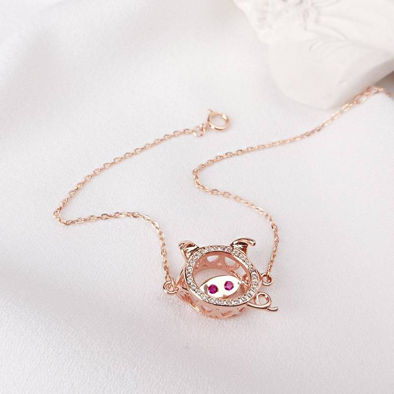 Delicate Wholesale Japan Korea Style 925 Sterling Silver Fashion Cute Sweet Pig Head Bracelets Women Jewelry