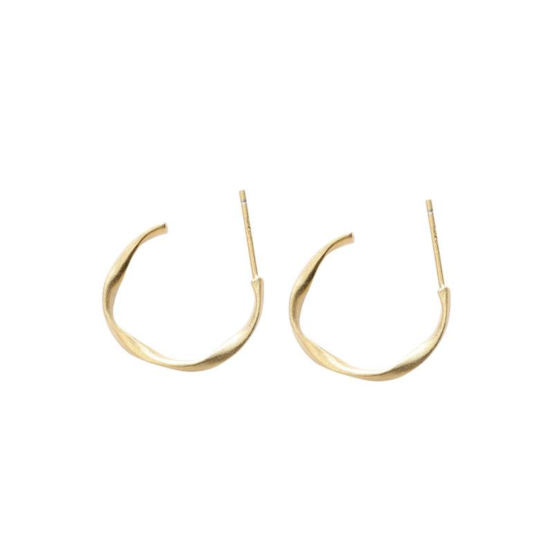 Korea Hot Style Pure Silver Earrings for Women Trendy Gold Hook Earring