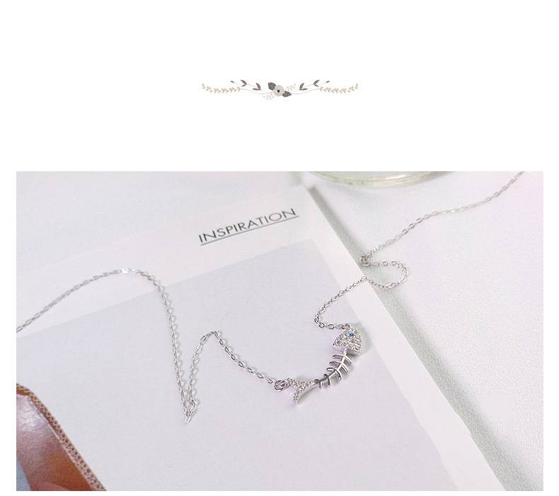 Korea Hot Style Pure 925 Silver Necklace for Women Delicate Fashion Gold Ocean Fish Bone Pendant Necklace Jewelry