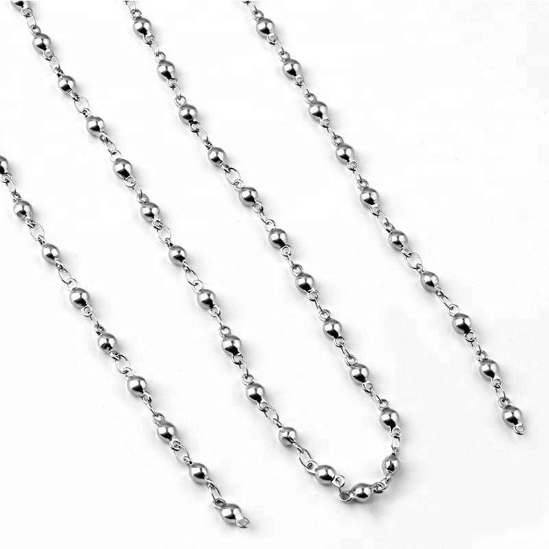 3.5*8mm Silver Bead Link Chain Women  Chain Necklace Fashion Stainless Steel Jewelry