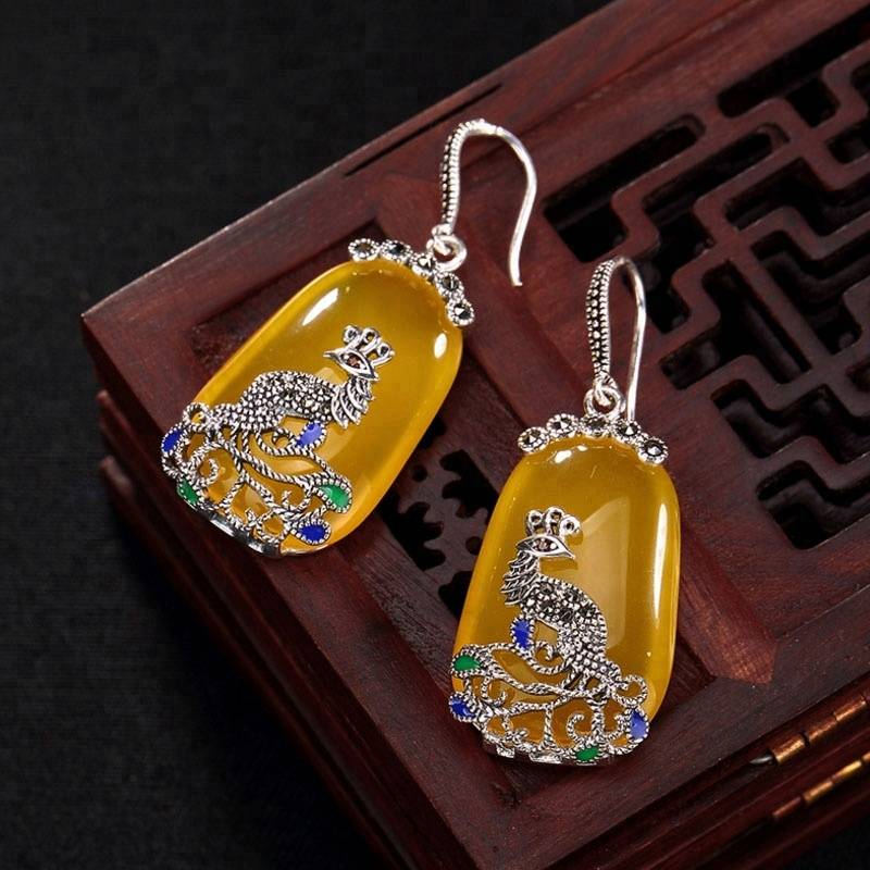 Real 925 Sterling Silver Nature Chalcedony Yellow Earrings Women Enamel Bijoux Ethnic Brincos Marcasite Peacock Jewelry