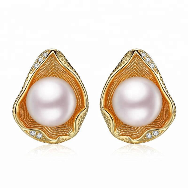 100% 925 Sterling Silver Shell Design  Natural Pearl Stud Earrings For Women Best Gift