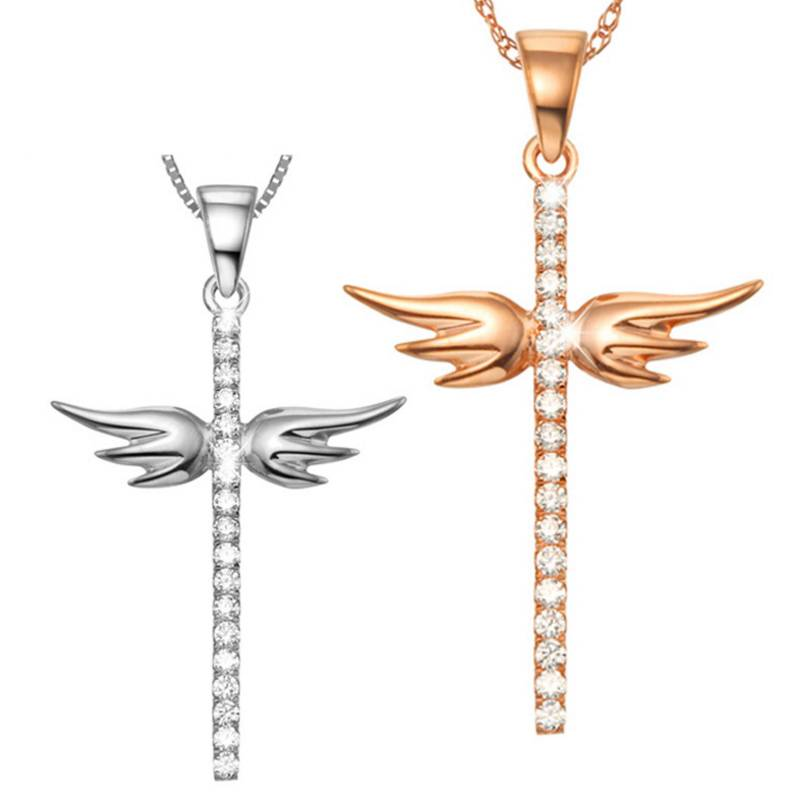 925 Sterling Silver Necklace inlaid Zircon Angel Wings Cross Necklace For Women Girl Female Jewelry Wedding Gift