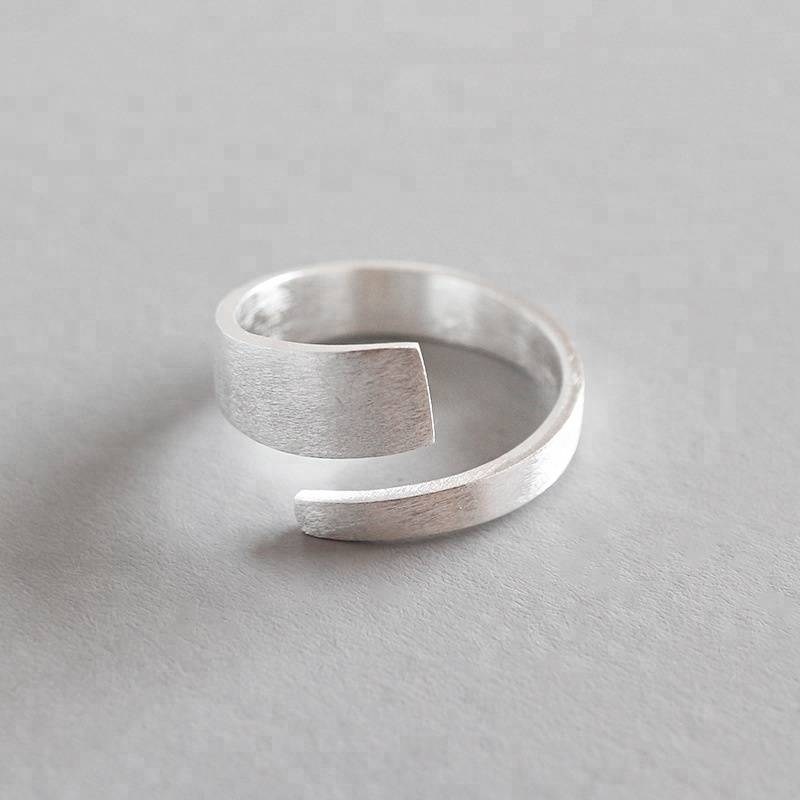 925 Sterling Silver Brushed Matte Open Ring Retro Minimalist for Women