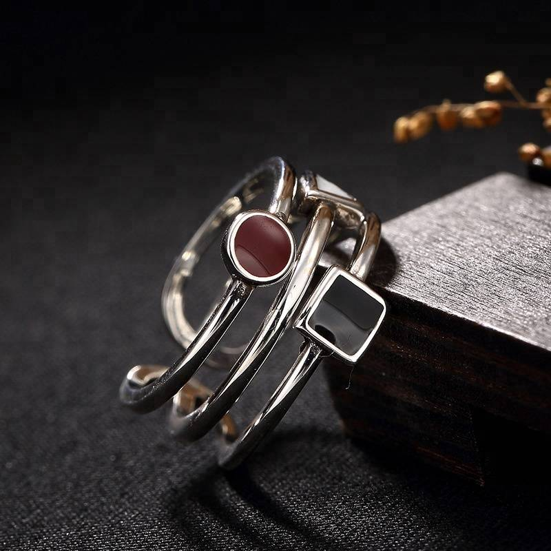 925 Sterling Silver Thai Handmade Three Lines Ring Open Ring for Women Jewelry Gift