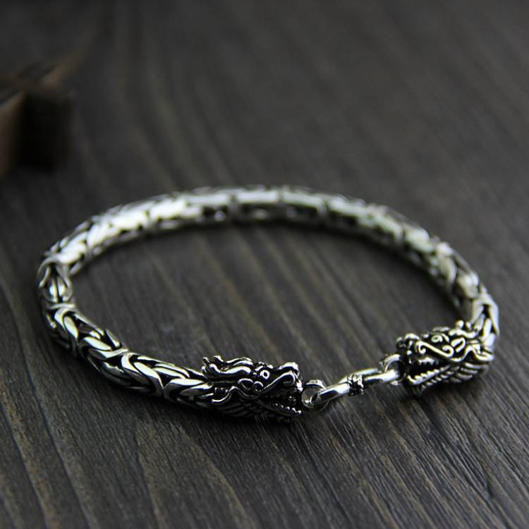 S925 Sterling Silver Double Faucet Bracelet Men And Women Retro Thai Silver Jewelry