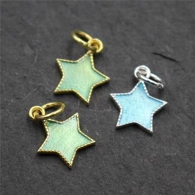 Real 925 Sterling Silver Moons Charms Accessories Jewelry DIY Lovely Stars Findings Enamel Pendants Jewelry