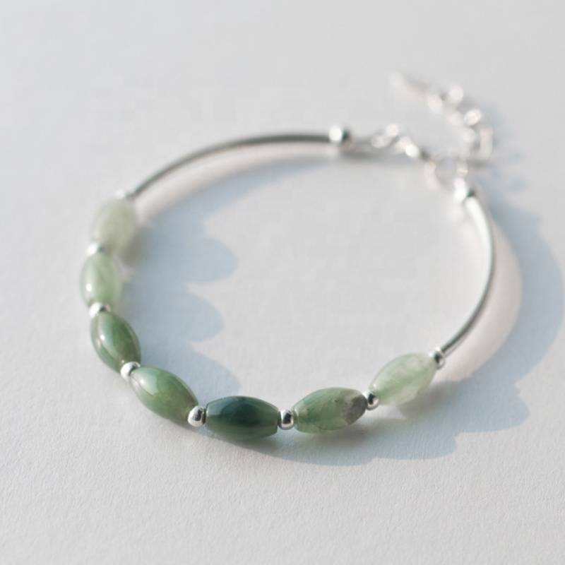 Fashion 925 Sterling Silver Emerald Jade Bracelet Bangle Woman