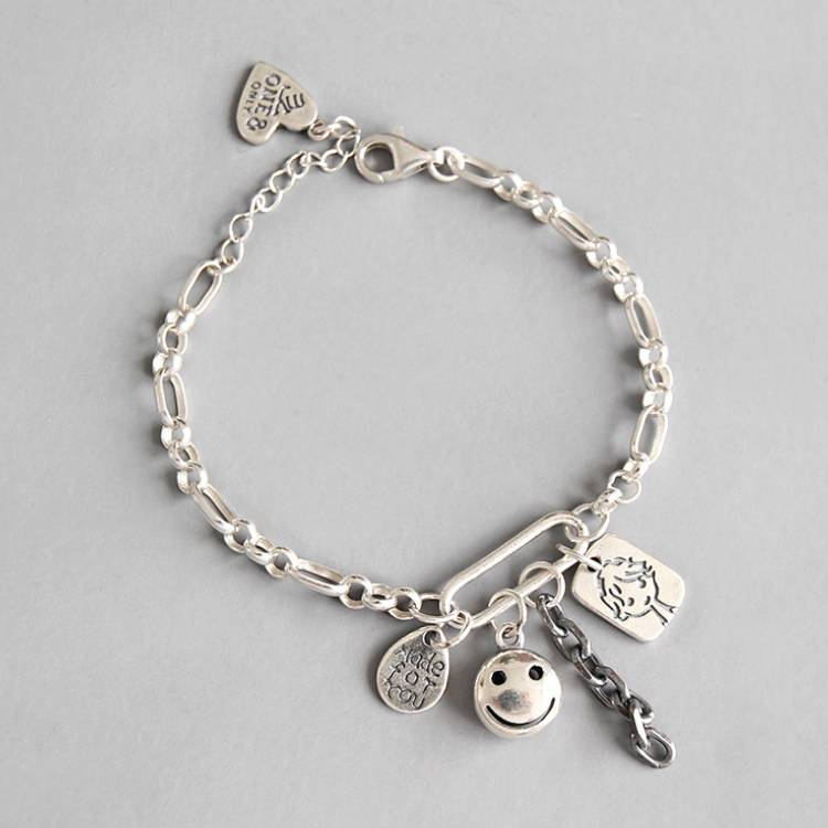 925 sterling silver bracelet retro doll smiley English  chain female bracelet