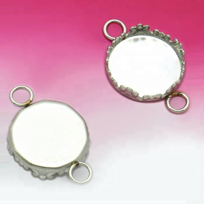 Stainless Steel 12mm Jewelry Double Hole Connector Blank Base Tray Bezel Fit Cabochon Cameo DIY Bracelet