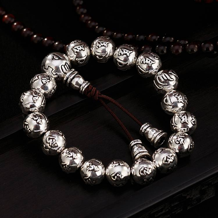 925 sterling silver six-word mantra beads bracelets retro old Thai silver personality wild men and women bracelet Featured Image