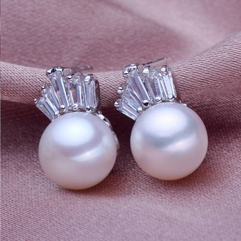 Genuine 925 Sterling Silver Natural Pearl Earrings with Crown for Women Jewelry Gift