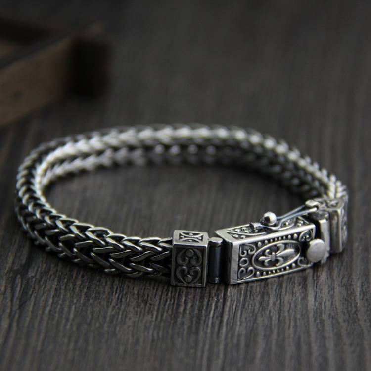 925 Sterling Silver Fashion Braided Dragon Bone Bracelet Men's Retro Thai Silver Jewelry