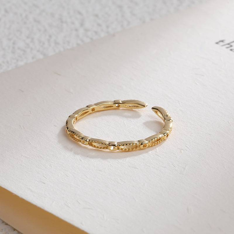 Korea Hot Style Pure 925 Sterling Silver Ring for Women Delicate Fashion Gold Open Ring Jewelry