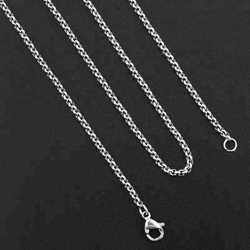 Stainless Steel Curb Cuban Necklace for Men Women Silver Chain Necklace 45cm 2018 Fashion Long Necklaces