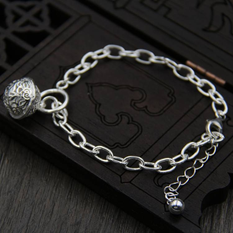 S925 Sterling Silver Fashion Bell Bracelet Silver Plain Simple Palace Bell Hand Jewelry