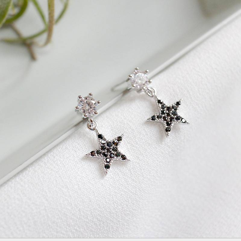 New Design 925 Sterling Silver Creative Mix Personality Concise Zircon Star Drop Earring Fine Jewelry