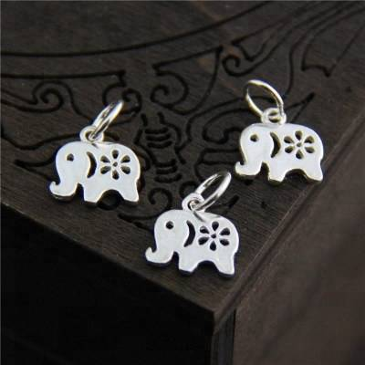 100% 925 sterling silver Bracelet  Charms fashion elephant Pendant for Necklace bracelet making  jewelry accessories