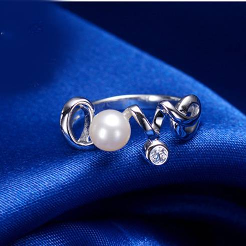 100% 925 Sterling Silver Love Letter Ring for Women 6mm Natural Pearl Jewelry Gift