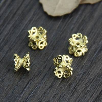24K Gold Plated Bead Cap 925 Sterling Silver Bead Caps Bracelet Double-Sided Flower Bead Cap Jewelry Accessories