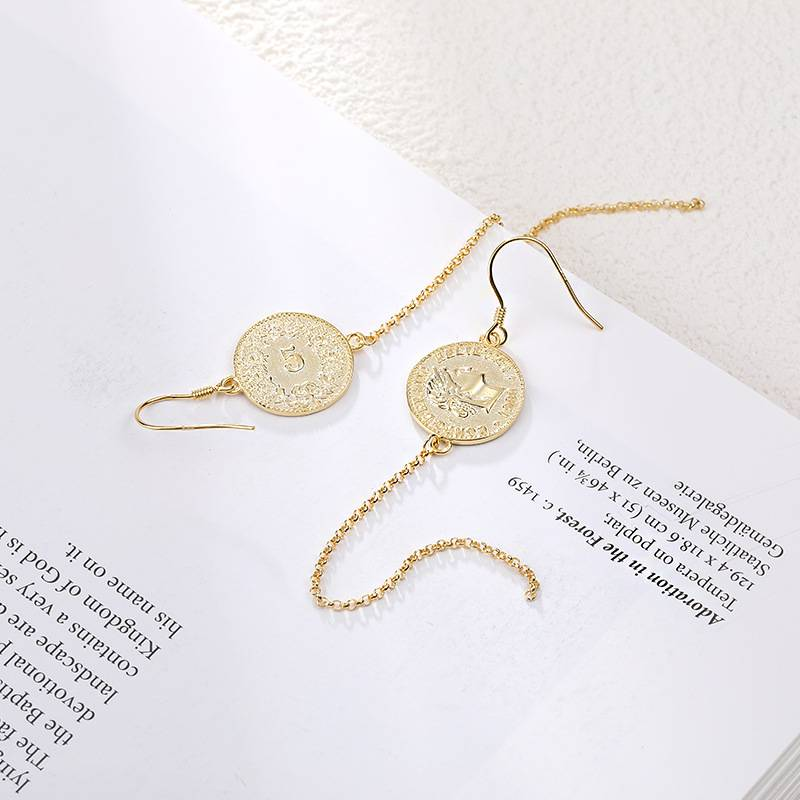 Korea New Style 925 Sterling Silver Earring for Women Simple Fashion Chic Gold Coins Tassel Earring Jewelry