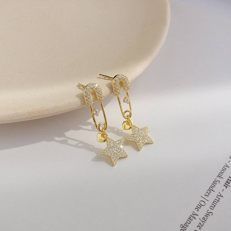 Korea New Style 925 Sterling Silver  for Women Simple Fashion Chic Star Pin Gold Earring Jewelry Featured Image