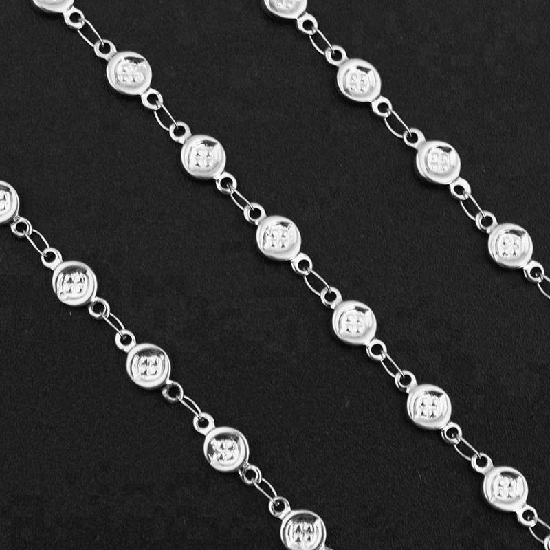 Men Women 5.5*9 MM Stainless Steel Button Necklace Links Chains Jewelry