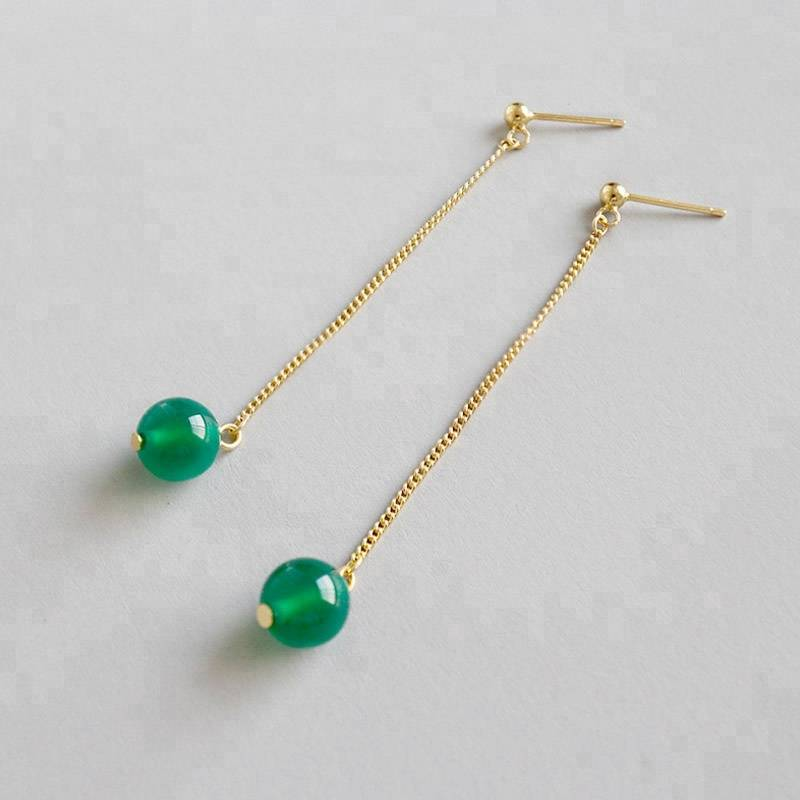 925 Sterling Silver Fine Jewelry Natural Green Agate Gemstone Gorgeous Earrings for Women Green Onyx Earrings