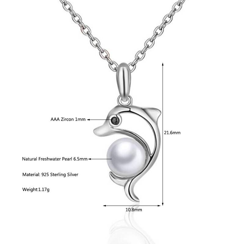 100% 925 Sterling Silver Dolphin Natural Pearl Necklace Pendant Charms For Women Jewelry Gift