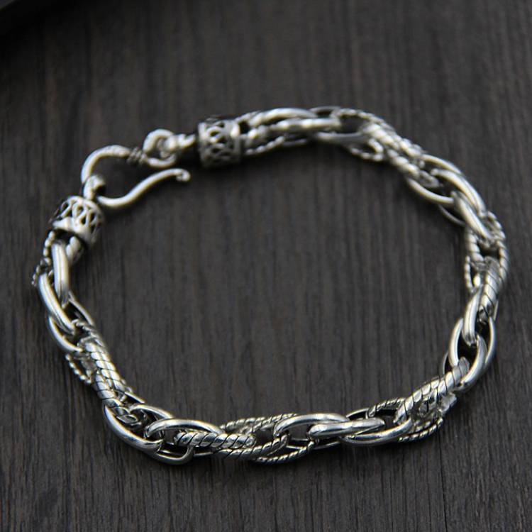 S925 Sterling Silver Twist Twist Bracelet Ladies And Women Retro Thai Silver Wrist