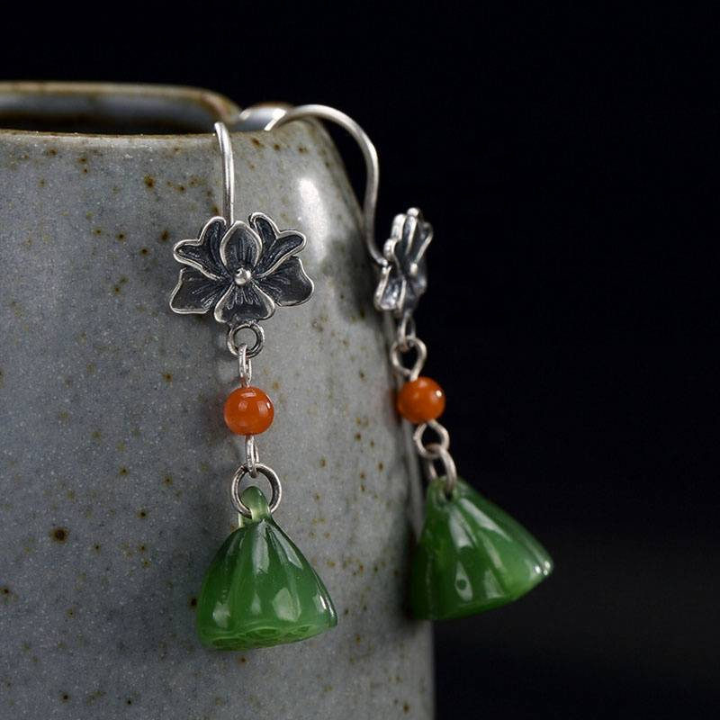 Real 925 Sterling Silver Natural Green Jade Women Lotus Earrings Handmade Jasper Flower Brincos Vintage Ethnic Fine Bijoux