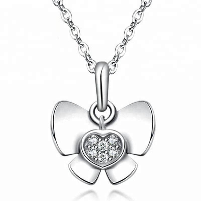 Real 925 Sterling Silver Women Necklaces SilverButterfly shape AAA Zircon Fashion Pendant charms Jewelry