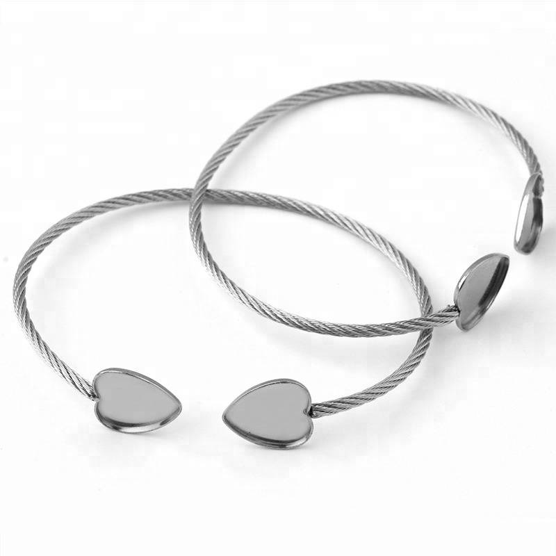 Fashion Adjustable 12mm Bangle Heart Blank Men & Women DIY Blank Charm Bracelets & Bracelets for Jewelry Making