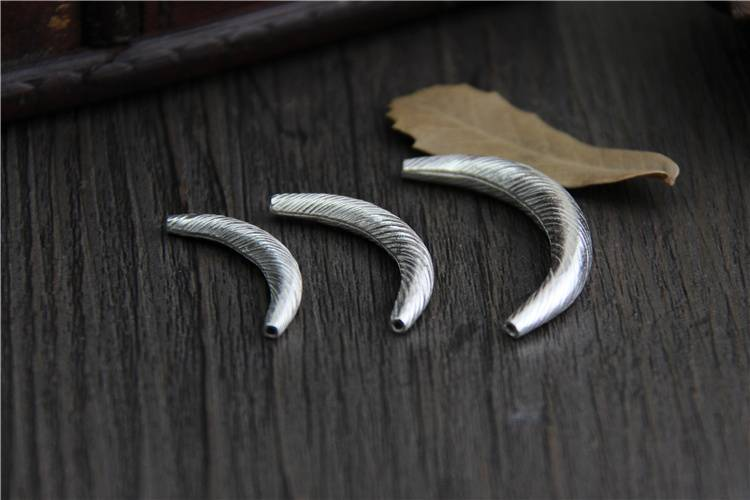 925 Sterling Silver Beads DIY Bracelet Necklace Bead Hollow Bend Elbow Pipe Beads bushed Tube Beads Handmade Jewelry