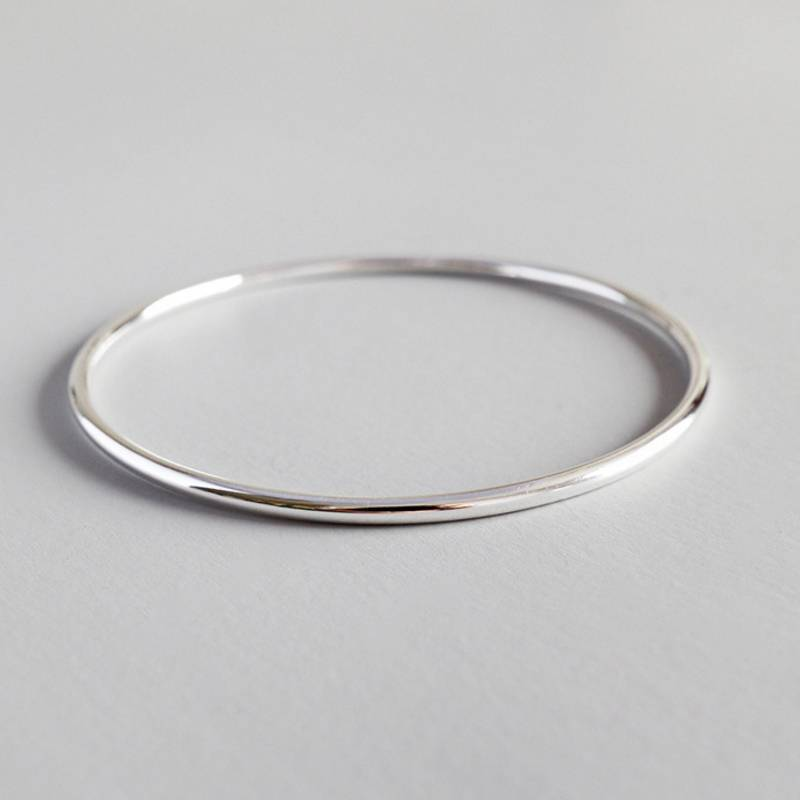 Factory Price 100% 925 Sterling Silver Fashion Concise Bangle Bracelets Fine Jewelry for Female