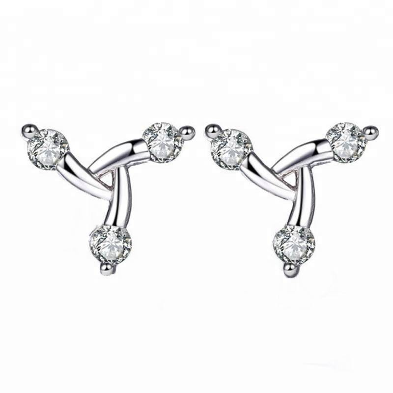 100% 925 Sterling Silver flowers and Alice accessories  stud earrings fashion jewelry