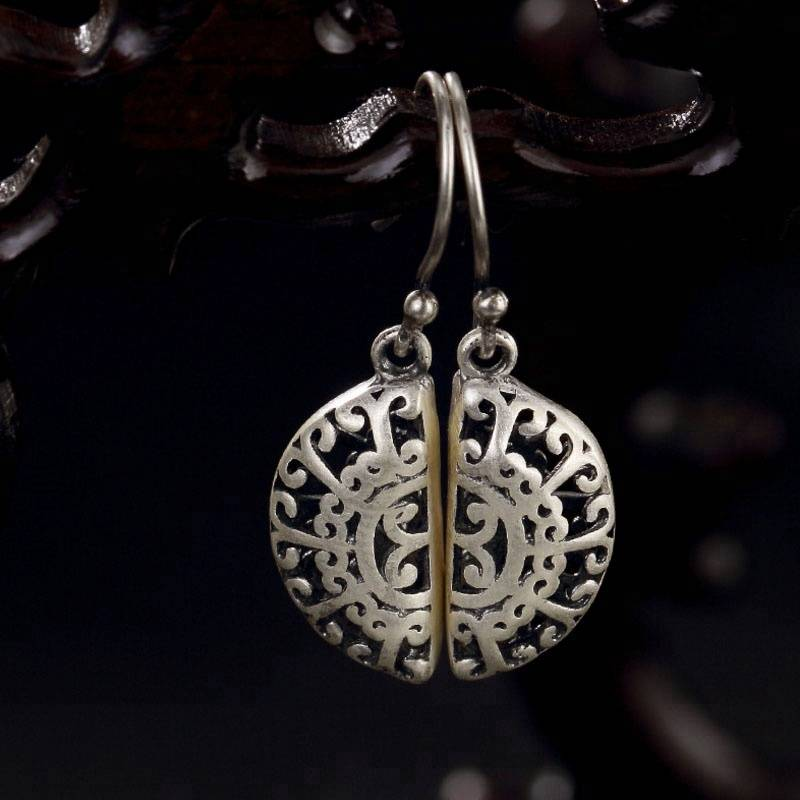 Elegant Original 990 Sterling Silver Chrysanthemum Woman Drop Earrings New Design Vintage Stylish Jewelry