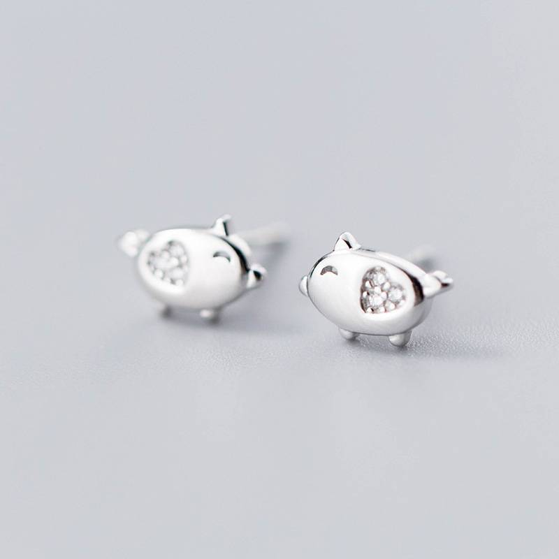 925 Sterling Silver Ring Delicate Japan Korea Style Fashion Cute Pig Stud Earring Women Jewelry Wholesale