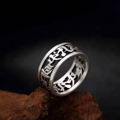 Vintage 990 Sterling Silver Rings For Women and Men Six Words Mantra Hollow Design Buddhist Jewelry