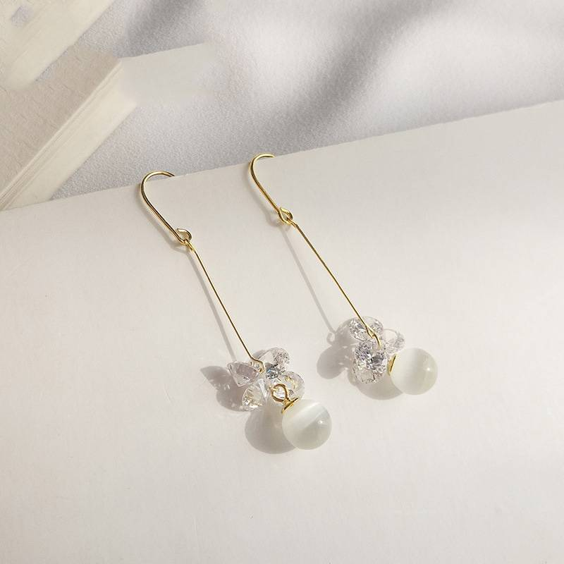 Korea New Style 925 Sterling Silver Earring for Women Simple Fashion Chic Opals Wire Drop Earring Jewelry