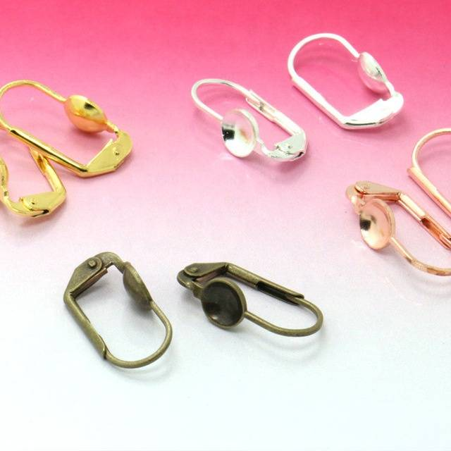 Gold/Silver/Rose Gold/Antique Bronze French Ear Hook Bowl Shape Earring Setting Tray for Glass Cabochons Jewelry